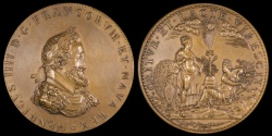 """World Coins - 1602  France - Henri IV, """"Restitution"""" Birth of the Dauphin Louis XIII by Philippe Danfrie, the elder"""