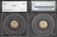 Us Coins - 1941 Mercury Dime SEGS MS64
