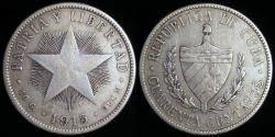 World Coins - 1915 Cuba 40 Centavo - 1st Republic - Medium Relief Star - F