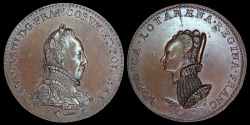 World Coins - 1586  France - Queen Louise de Lorraine and Henry III Laudatory Medal by Claude de Hery and Germain Pilon