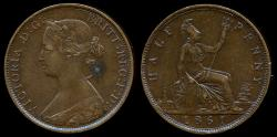 World Coins - 1861 Great Britain 1/2 Penny XF