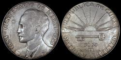 World Coins - 1953 Cuba 1 Peso - Centennial - Birth of Jose Marti - UNC