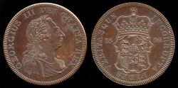 World Coins - 1808 Great Britain Crown, George III - Medallic Issue (2007), Coppered Bronze Proof