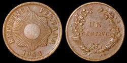 World Coins - 1944 Peru 1 Centavo - Republic Coinage - BU