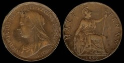 World Coins - 1896 Great Britain 1/2 Penny AU