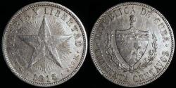 World Coins - 1915 Cuba 40 Centavo - 1st Republic - Medium Relief Star - XF