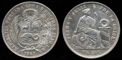 World Coins - 1867/57 YB Peru 1 Sol AU