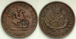 World Coins - 1852 Canada 1/2 Penny - Bank of Upper Canada Token - XF