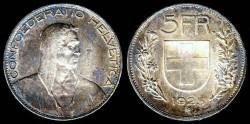 World Coins - 1925 B Switzerland 5 Franc AU