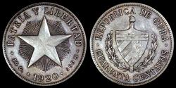 World Coins - 1920 Cuba 40 Centavos - 1st Republic - AU