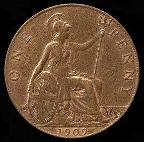 World Coins - 1909 Great Britain 1 Penny AU