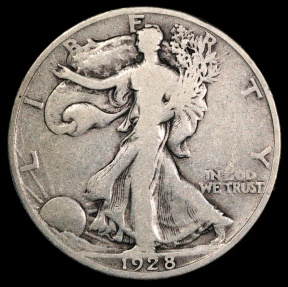 US Coins - 1928 S Walking Liberty Half Dollar F