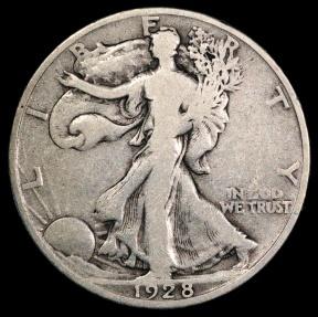 US Coins - 1928 S Walking Liberty Half Dollar F