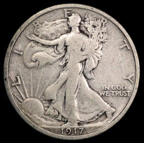 US Coins - 1917 P Walking Liberty Half Dollar VF