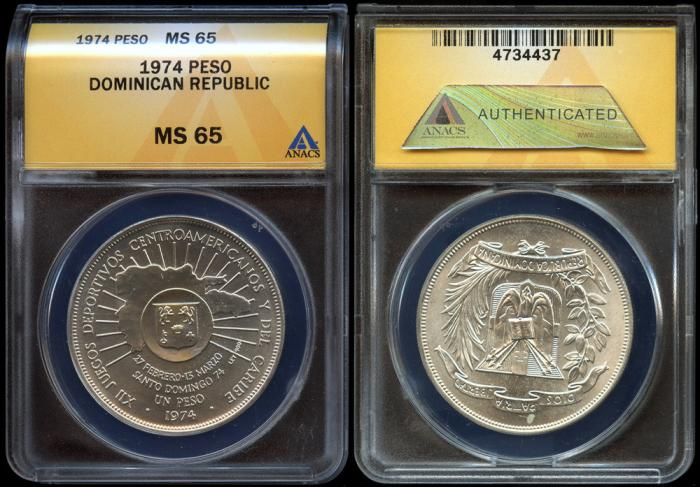 World Coins - 1974 Dominican Republic 1 Peso - 12th Central American and Caribbean Games Silver Commemorative ANACS MS65 - 2nd Highest Graded by ANACS!