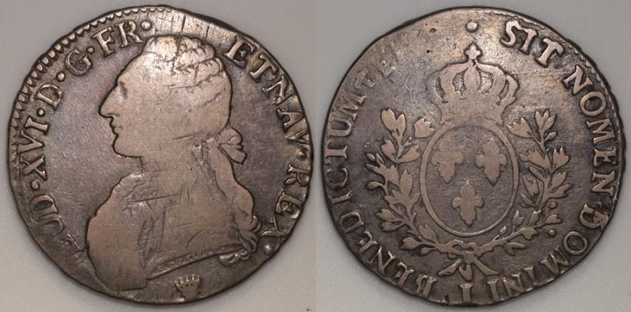 World Coins - 1778 I France 1 Ecu - Louis XVI - Limoges Mint - F (tiny mintage)
