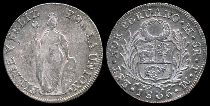 World Coins - 1836 TM Peru (North Peru) 8 Reales XF