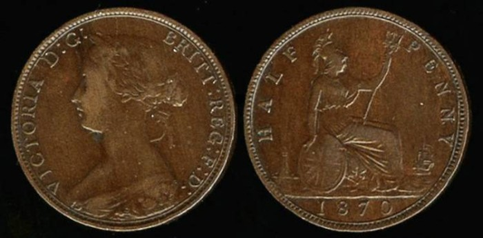 World Coins - 1870 Great Britain 1/2 Penny VF