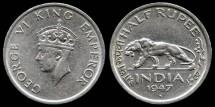 World Coins - 1947 B India (British) 1/2 Rupee XF