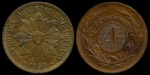 World Coins - 1869 H Uruguay 4 Centesimos UNC