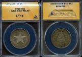 World Coins - 1915 Cuba 40 Centavos - 1st Republic - High Relief Star - ANACS XF45