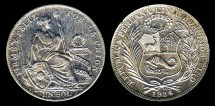 World Coins - 1934 Peru 1 Sol BU