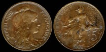 World Coins - 1908 France 5 Centimes XF