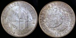 World Coins - 1952 Cuba 20 Centavos - 50th Year of the Republic - Silver Commemorative - AU