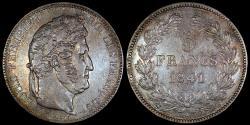 World Coins - 1841 BB France 5 Franc - Philippe I - Strasbourg Mint - XF