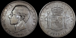 World Coins - 1882 (85) MS-M Spain 5 Pesetas - Alfonso XII - F