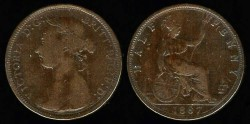 World Coins - 1887 Great Britain 1/2 Penny VF