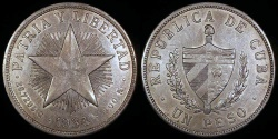 World Coins - 1934 Cuba 1 Peso - Star Peso - AU