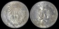 World Coins - 1933 Mexico 1 Peso AU