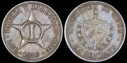 World Coins - 1916 Cuba 1 Centavo - 1st Republic - AU