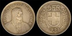 World Coins - 1953 B Switzerland 5 Franc XF