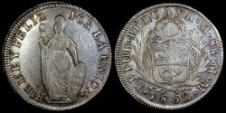 World Coins - 1832 LIMAE-MM Peru 8 Real (Standing Liberty) AU