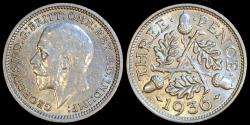 World Coins - 1936 Great Britain 3 Pence - George V - UNC