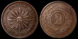 World Coins - 1869 A Uruguay 2 Centesimos - Decimal Coinage - AU