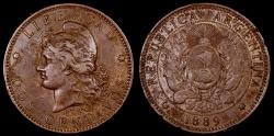 World Coins - 1889 Argentina 2 Centavos VF