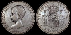 World Coins - 1891 (91) PG-M Spain 5 Pesetas - Alfonso XIII - VF