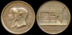 World Coins - 1855  France - Napoleon III - Universal International Exposition Palace of Industry Commemorative Medal (Interior View) by Jacques (Jacob) Wiener and Armand Auguste Caqué