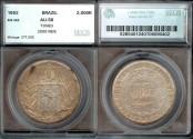 World Coins - 1852 Brazil 2000 Reis - Petrus II - SEGS AU58 Silver