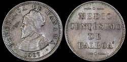 World Coins - 1907 Panama 1/2 Centesimos - Vasco Núñez de Balboa - AU