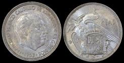 World Coins - 1957 (66) Spain 5 Pesetas - Francisco Franco - AU