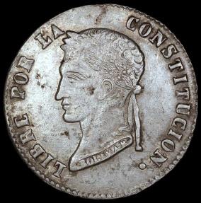 World Coins - 1858 PTS-FJ Bolivia 4 Soles - Simon Bolivar - XF
