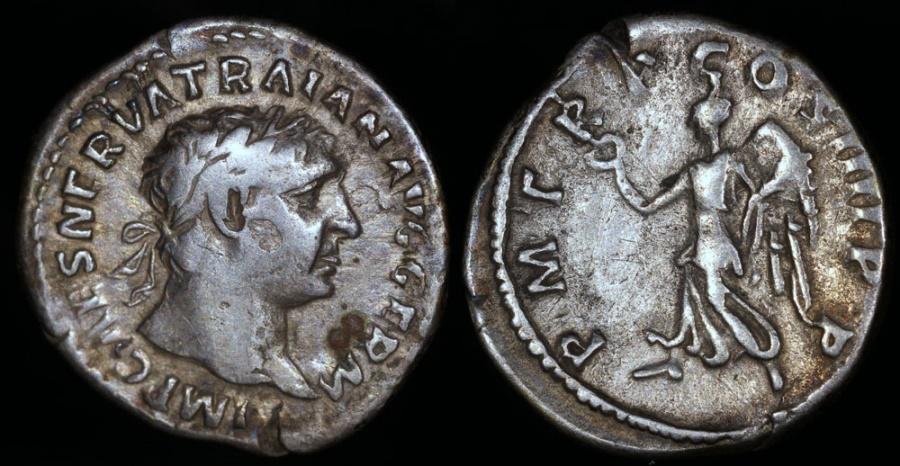 Ancient Coins - Trajan Denarius - P M TR P COS IIII P P - Rome Mint