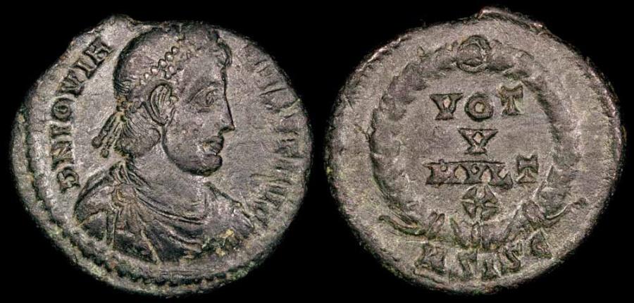 Ancient Coins - Jovian Ae3 - VOT V MVLT X - Siscia Mint