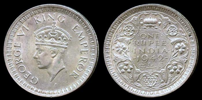 World Coins - 1942 (b) India (British) 1 Rupee UNC