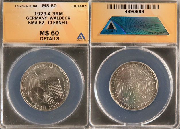 "World Coins - 1929 A Weimar Republic 3 Reichsmark ""Waldeck-Prussia Union Silver Commemorative"" ANACS MS60"