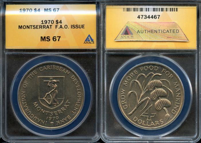 World Coins - 1970 Montserrat - British 4 Dollars - F.A.O. Issue - ANACS MS67
